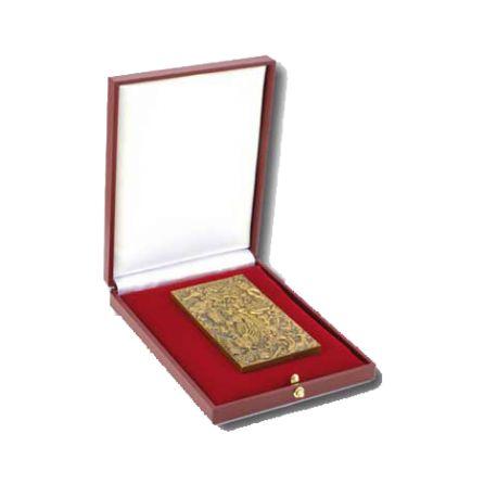 Ecrin en simili cuir rouge pour médaille plaque