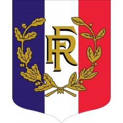 Ecusson porte-drapeaux tricolore RF et Palmes