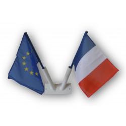 Support mural + drapeau français + drapeau européen