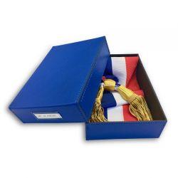 Boîte pour écharpe maire et adjoint en simili cuir et texon