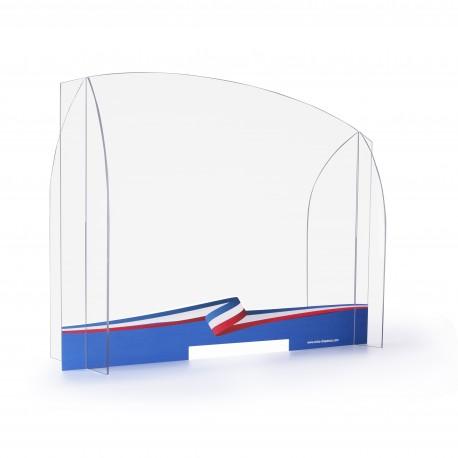 Paroi de protection en plexiglas - Modèle Ruban tricolore