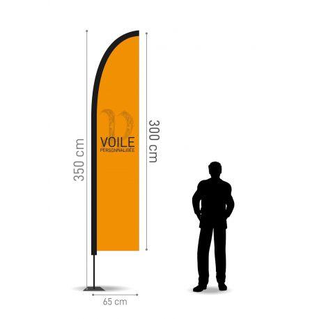 Winflag Hauteur 3.50 m - Voile 300 x 65 cm