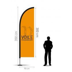 Winflag Hauteur 3.50 m - Voile 300 x 90 cm