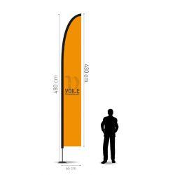 Winflag Hauteur 4.80 m - Voile 430 x 65 cm