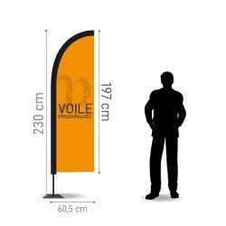 Winflag Hauteur 2.30 m - Voile 197 x 60.5 cm