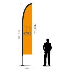 Winflag Hauteur 4.00 m - Voile 330 x 65 cm
