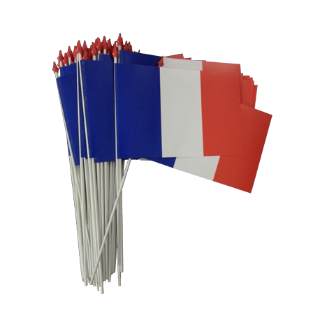 Lot de 100 drapeaux 10x15 France à agiter