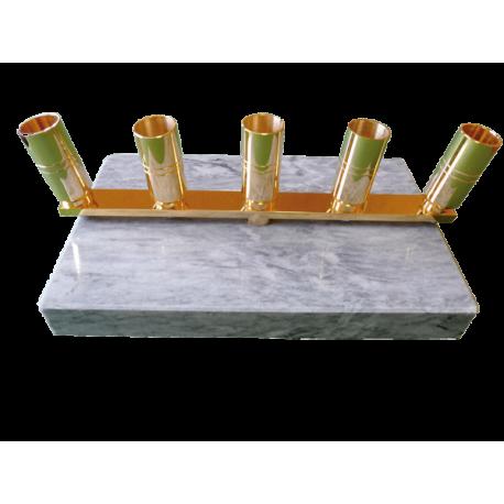 Pied en marbre et laiton - 5 places