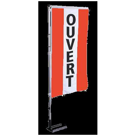 Pavillon vertical Ouvert avec bandes - Rouge