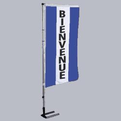 Pavillon vertical Bienvenue avec bandes - Bleu