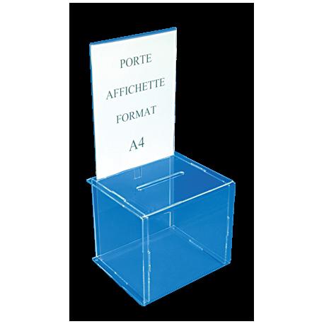 Boîte urne transparente avec porte affiche