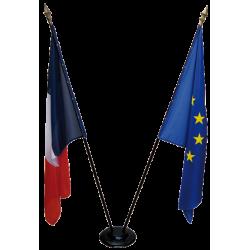 LOT Drapeaux d'intérieur - France + Europe + socle