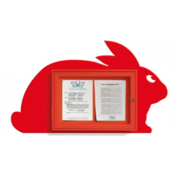 Vitrine Lapin 2 feuilles A4 - rouge