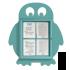 Vitrine Pingouin 4 feuilles A4 turquoise