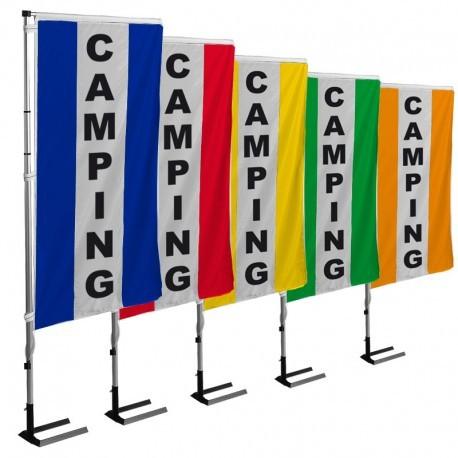 KIT complet Camping 1 Mât téléscopique + 1 bannière verticale