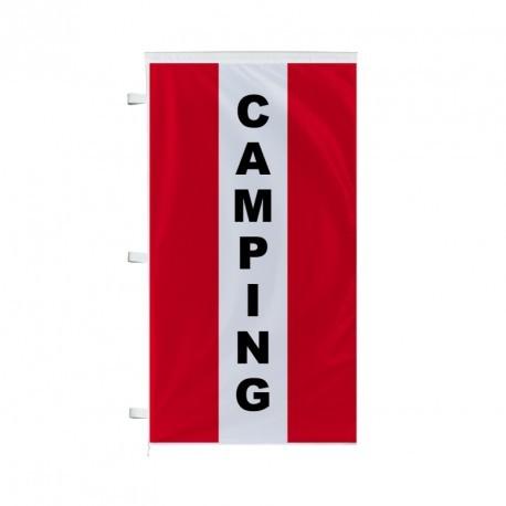 Bannière verticale Camping avec bandes - Rouge