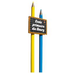 """Panneau école sur poteau """"Crayon"""""""