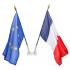 Porte-drapeau mural oblique 2 places