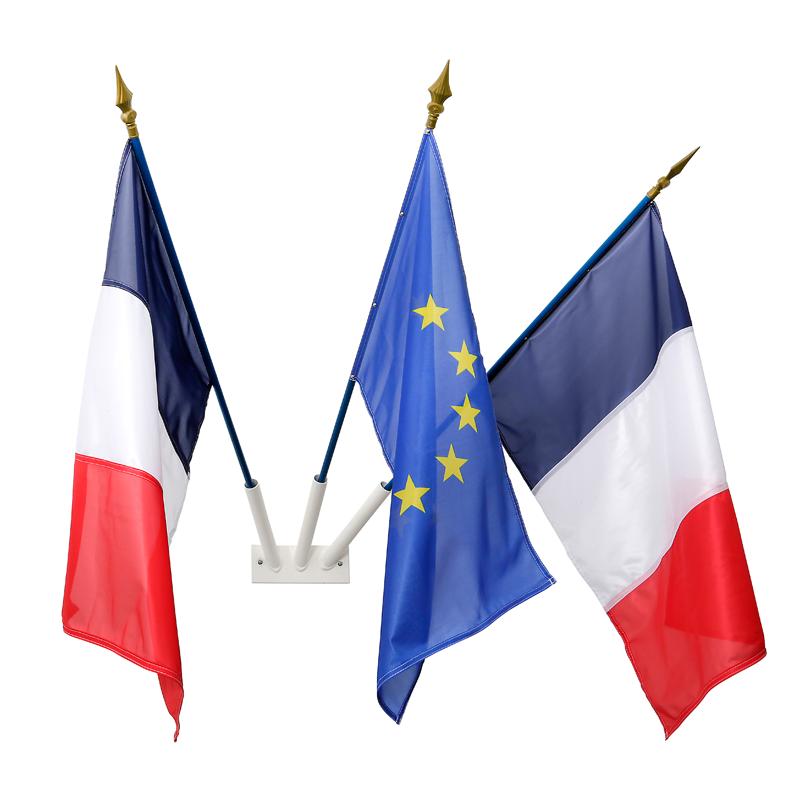 Drapeaux support mât de drapeau mât drapeau 3 positions noir